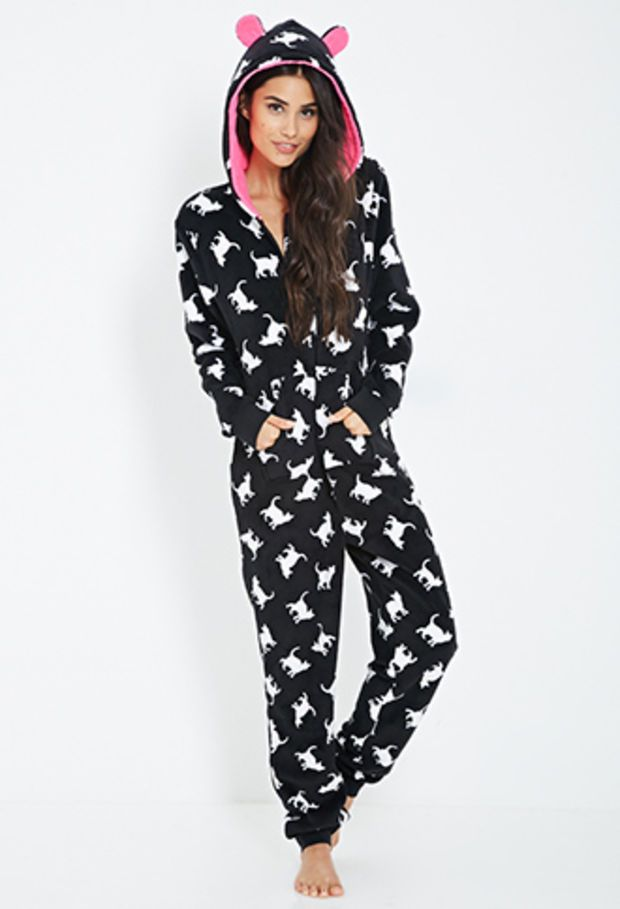 b1a209566a FOREVER 21 Cat Print Plush PJ Onesuit Black White