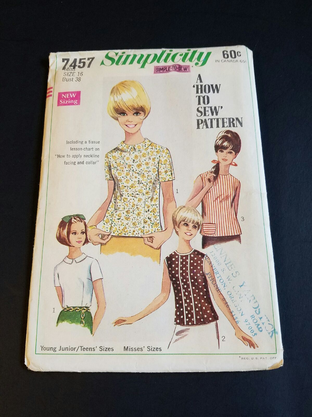 Vintage Simplicity 7457 Size 16 Women's Blouse Pattern How to Sew Bust 38. Pattern envelope has discolored some with age.  See photos for actual condition.  Suggested fabrics are cottons, pique, denim, linen, synthetics and more.   https://nemb.ly/p/ryQK3dtLl Happily published via Nembol
