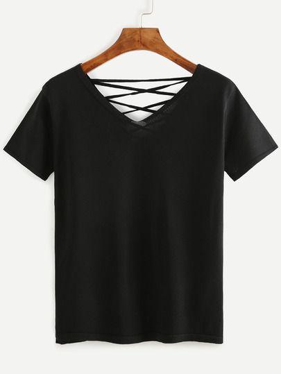 Camiseta manga corta con cordones-Sheinside
