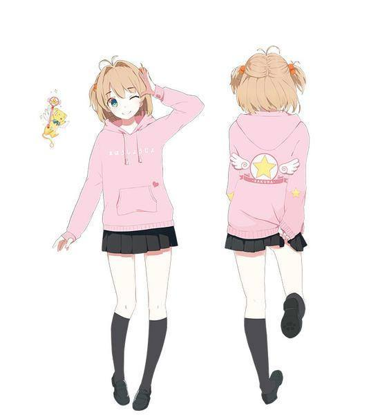 Anime Characters 155 Cm : Cardcaptor sakura pink hooded sweater sd card
