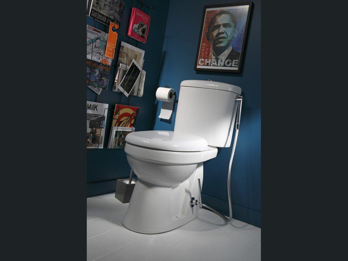 Porte revues sur un mur des toilettes inspirations salle for Petit toilette leroy merlin