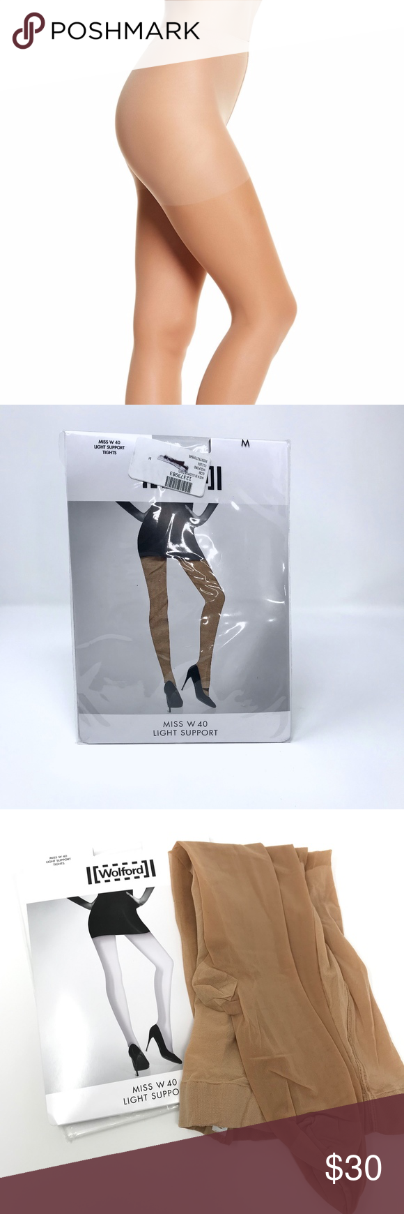 NWT Wolford MISS W 40 LIGHT SUPPORT Tights GOBI