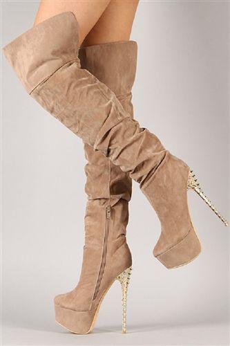 7aeaeeebf3e Fahrenheit Dior-08 Taupe M Suede Slouchy Stiletto Thigh High Boot ...