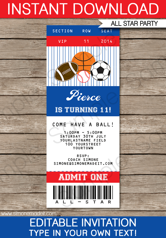 all star sports ticket invitations template | birthdays, soccer, Baby shower invitations