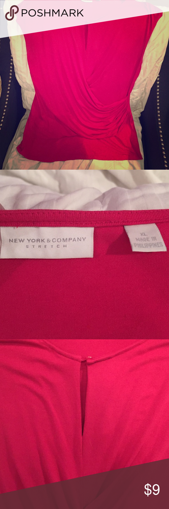New York and company stretch top Beautiful bright pink top with keyhole neckline and rushing. Faux wrap.  Can be worn to work and later for happy hour! Tops