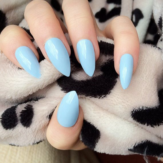 021 Doobys Stiletto - Baby Blue Gloss / Gel Look - 24 Claw Point False Nails Blue Press On Nails
