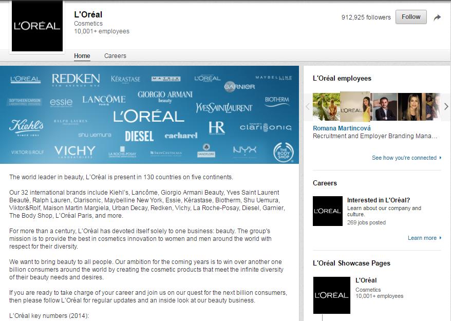 L'Oreal-LinkedIn-Page