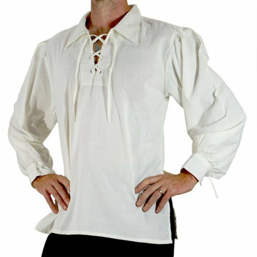 Men Renaissance Knight Lapel Shirt Tops Medieval Peasant Pirate Cosplay Costume