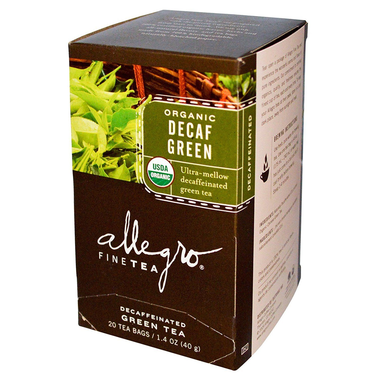 Allegro Fine Tea Organic Decaf Green 20 Bags 1 4 Oz See This Great Product Is An Affiliate Link Greentea