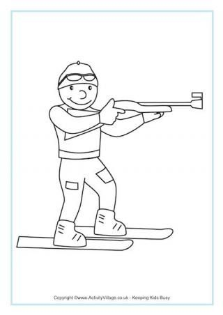 Biathlon Colouring Page - Winter Olympic coloring pages | Projekty ...