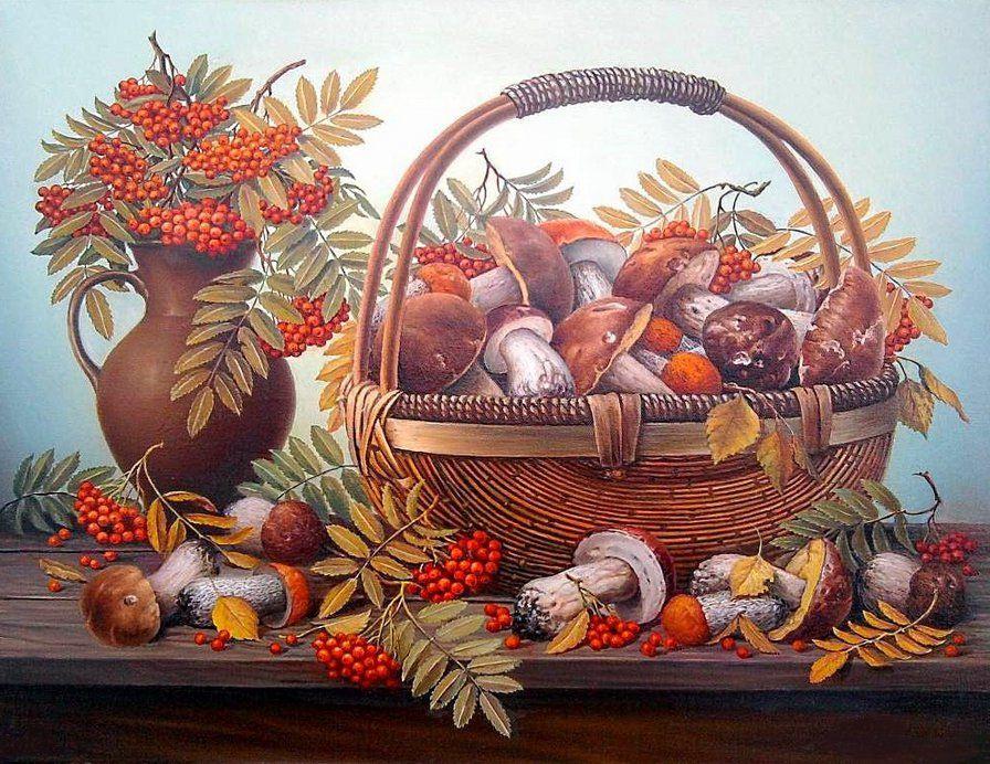 Киса смешные, открытки лукошко с грибами