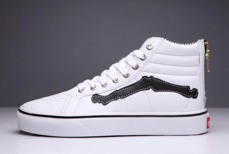 Vans Sk8 Hi White Leather Zip Skull Bone Skateboard Shoes Vans