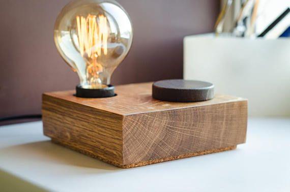 Lampe edison gravé personnalisé lampe de bureau bois fait à la