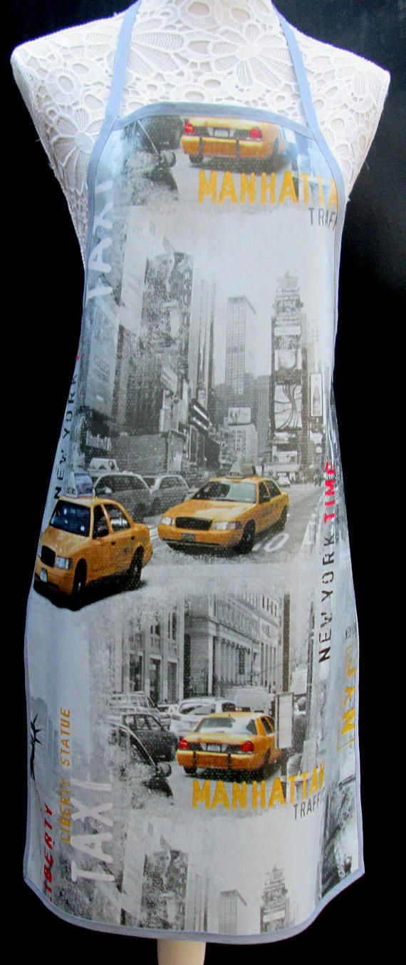 New York Taxi APRON / Pinny PVC/OILCLOTH  Lightweight