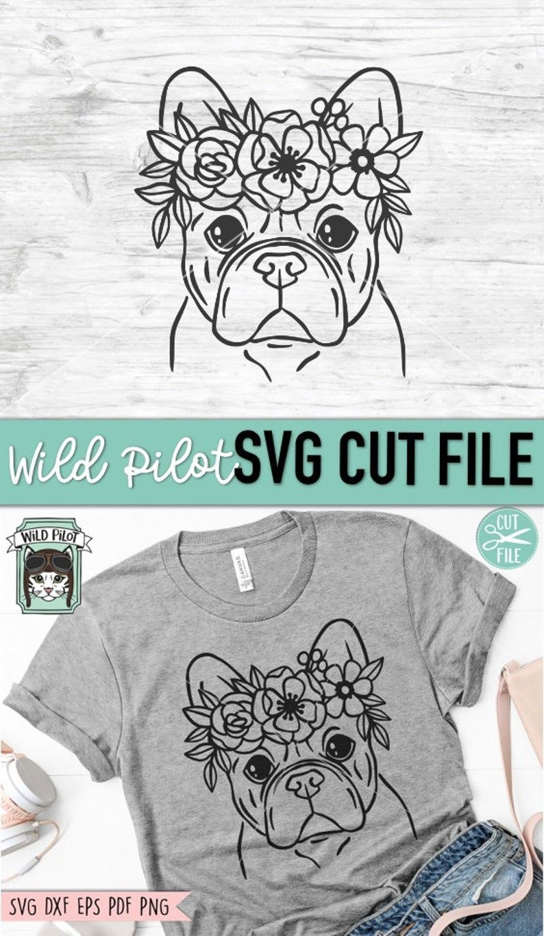 Photo of Dog SVG Dog with Flower Crown SVG Dog cut file French | Etsy