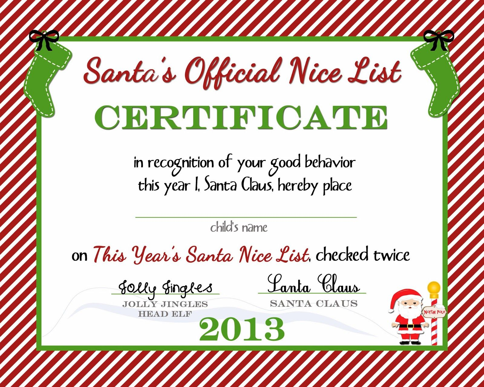 Wonderful {Free Printable) Nice List Certificate From The North Pole For Christmas Certificates Templates Free