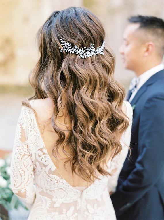 Boho Bridal Back Headpiece Bohemian Headpiece Wedding Pearl Headband Wedding Silver Tiara Wedding Hair Vine Bridal Headband Bridal hair comb 9
