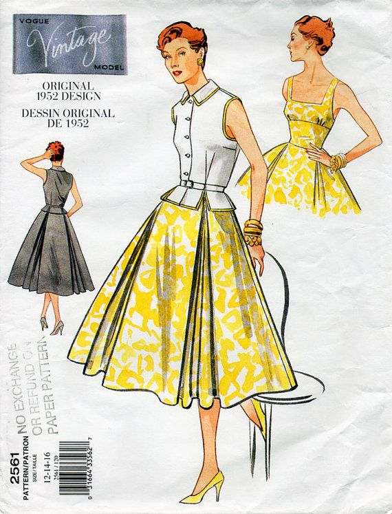 1950s Dress and Blouse Pattern Vogue Vintage Model 2561 Reprint ...