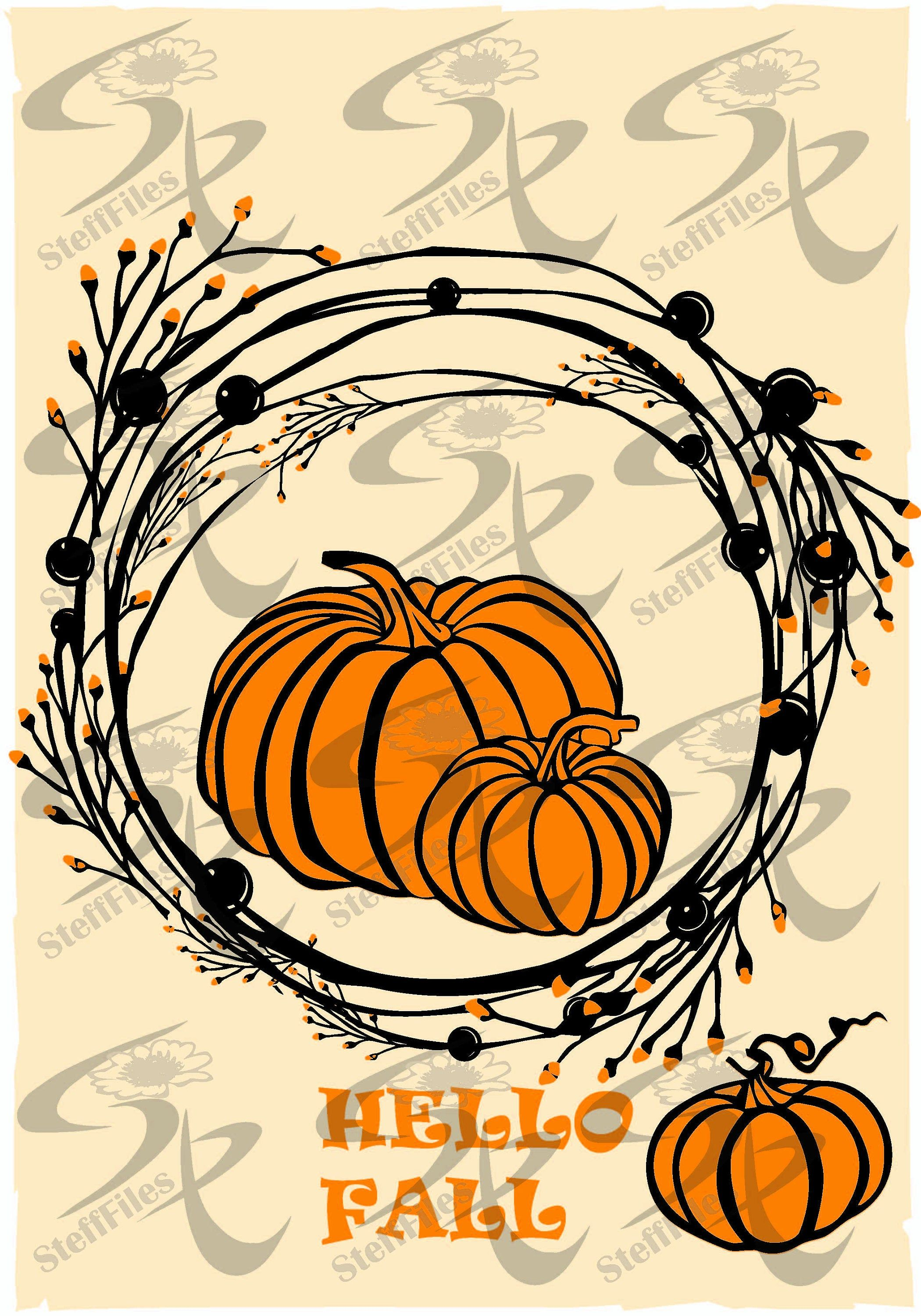 Vector HELLO FALL WREATH pumpkin,svg,dxf,ai,png,eps,jpg,Silhouette,Art print home,Decor Dorm room, Digital, graphical #hellofall