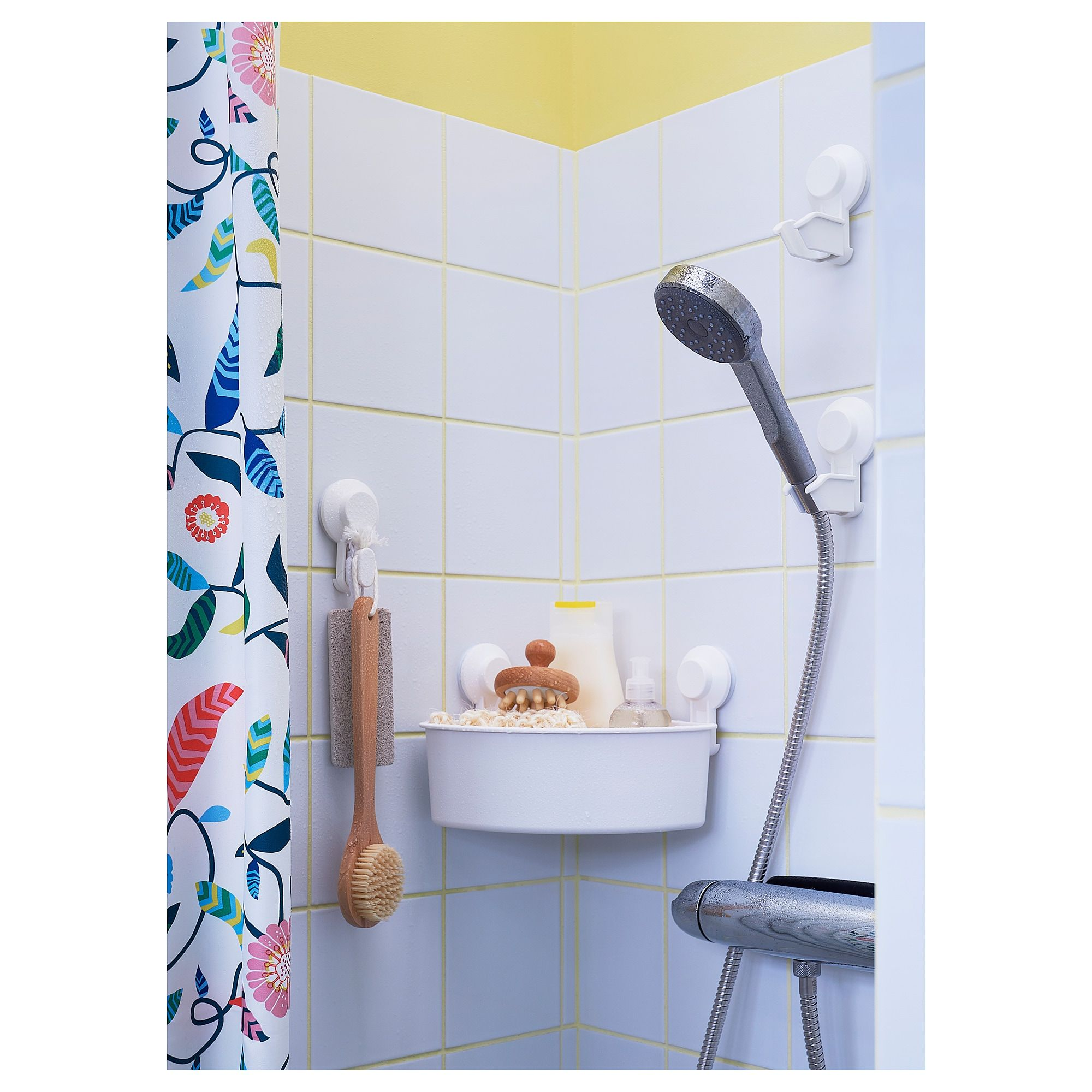 Tisken Hook With Suction Cup White Shower Holder Bathroom