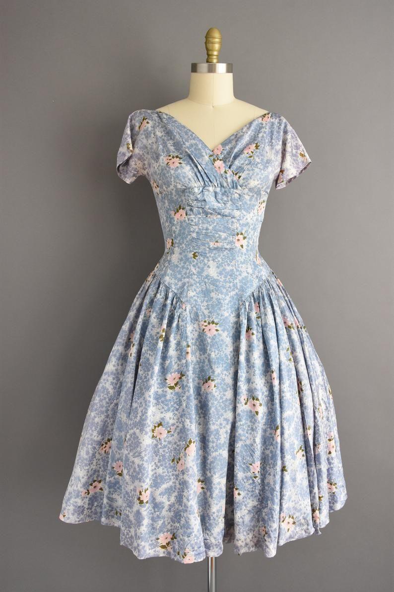 White Pink Flower Printed Polka Dot Blue Detail Full Skirt Waist-26 Vintage 1950s Dress