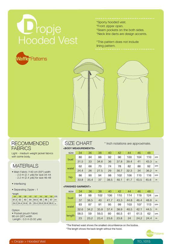 PDF sewing pattern. Women Hooded Vest -Dropje- (size 34-48) | Ideas ...