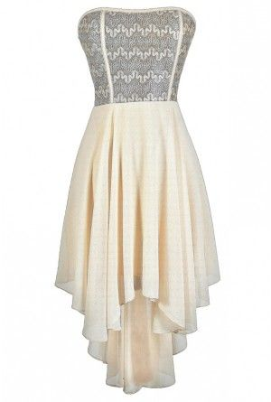 Squiggle Around High Low Dress in Ivory Gold  413925dfb