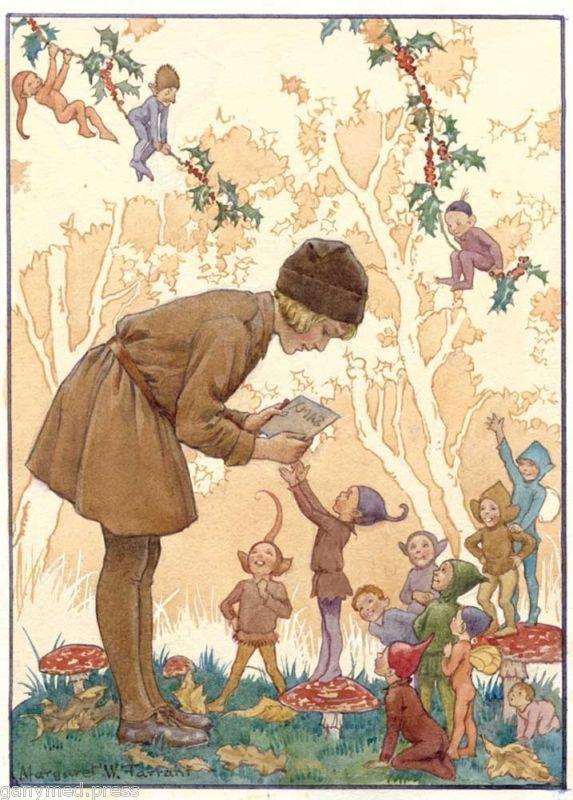 Margaret Tarrant - Brownie's Xmas Card - BROWNIE PRINT | Fairytale art,  Fairy illustration, Vintage illustration