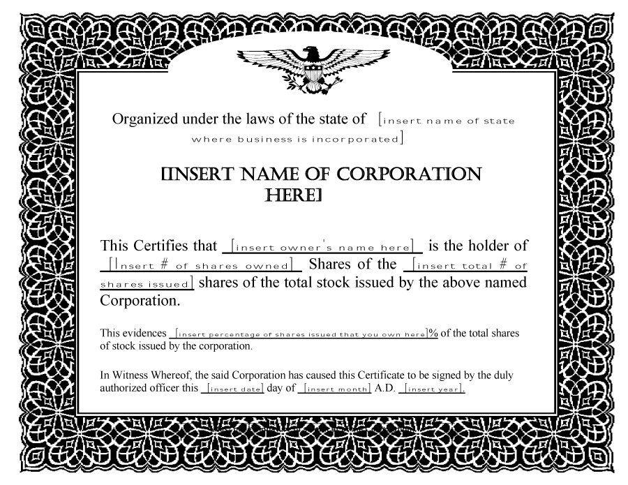14 Share Certificate Template Certificate Templates Stock