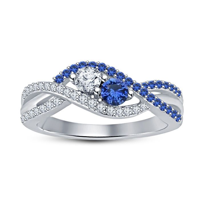 925 Sterling Silver Lovely Ladies Two Stone Diamond Sapphire Two