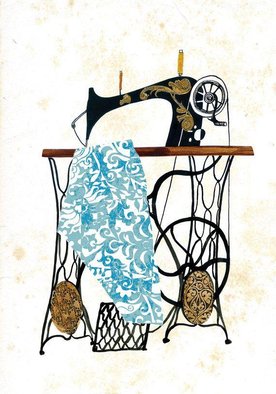 dibujo maquina de coser antigua (med bilder) | Sömnad