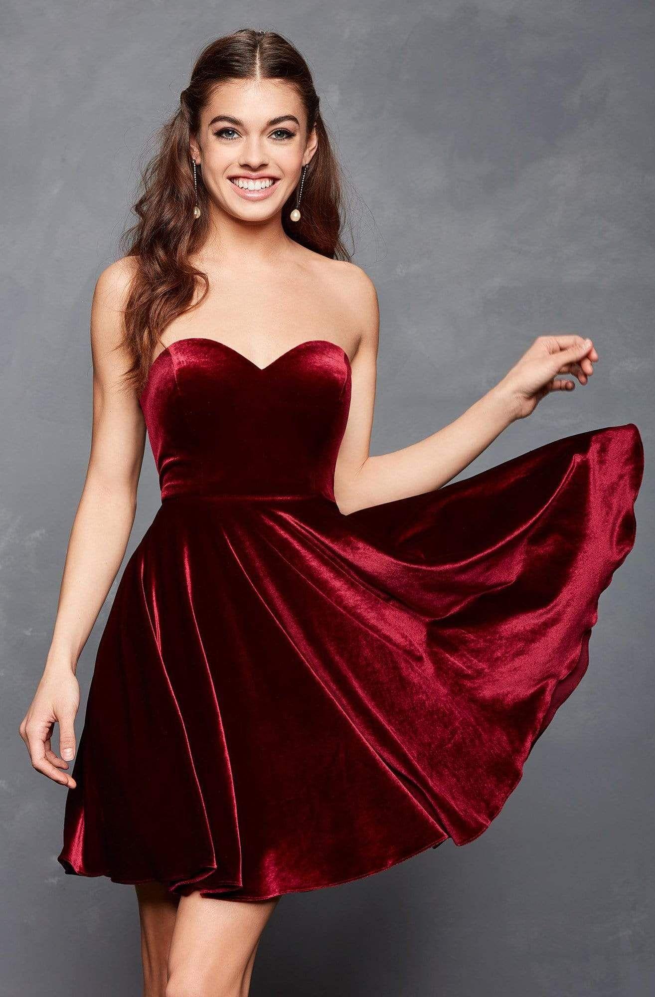 Clarisse 3652 Strapless Velvet Sweetheart A Line Dress In 2021 Velvet Dress Short Fancy Dresses Red Dress Short [ 2000 x 1314 Pixel ]