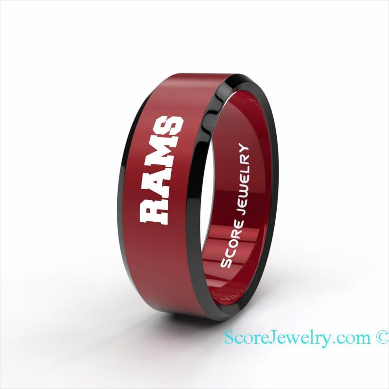Red Tungsten Band with Beveled Edge NFL Football St. Louis Rams Ring
