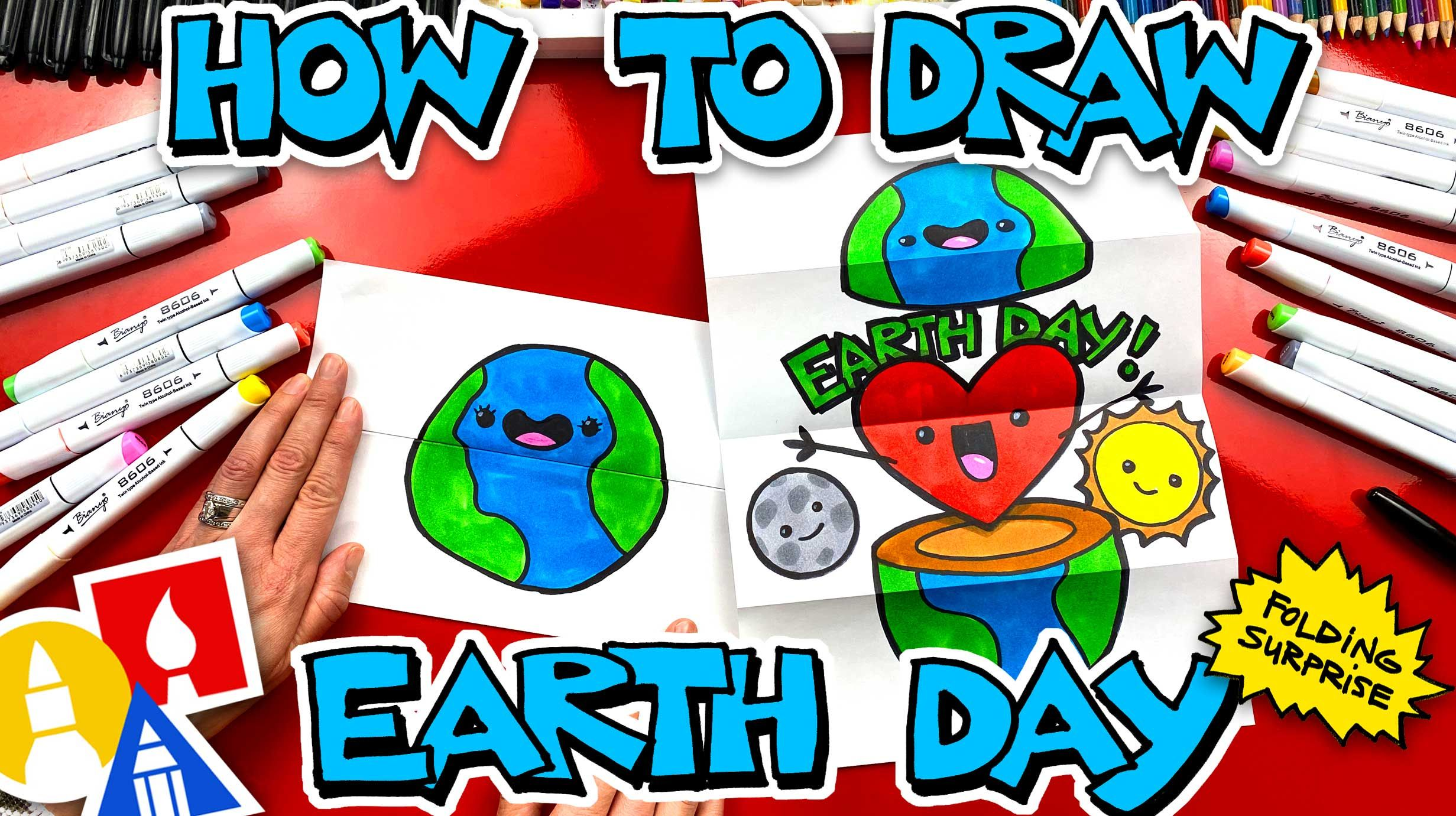 How To Draw An Earth Day Folding Surprise Art For Kids Hub In 2020 Art For Kids Hub Art Drawings For Kids Art For Kids