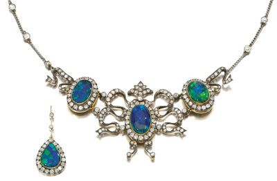 Belle Epoque Opal necklace and pendant, 1890s. Princess Ceril of Siam.