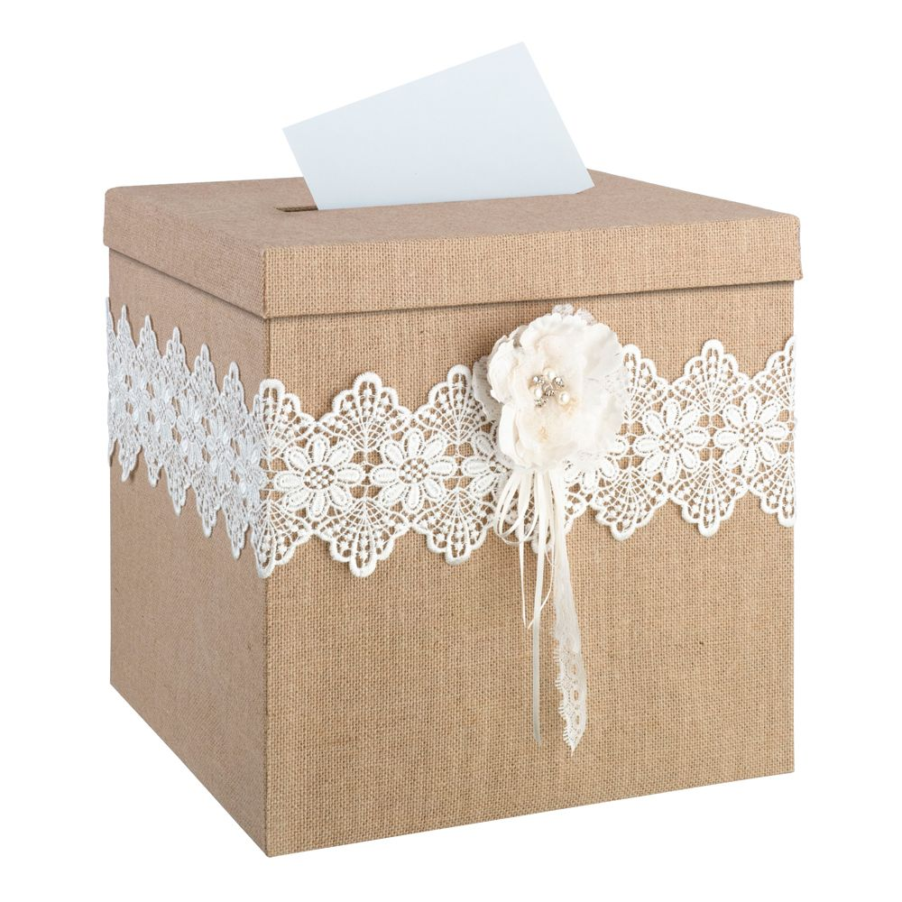 Rustic burlap and lace wedding card box event ideas and