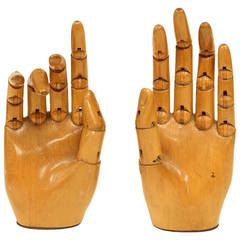 1930's Articulated Wooden Hands | From a unique collection of antique and modern curiosities at https://www.1stdibs.com/furniture/more-furniture-collectibles/curiosities/