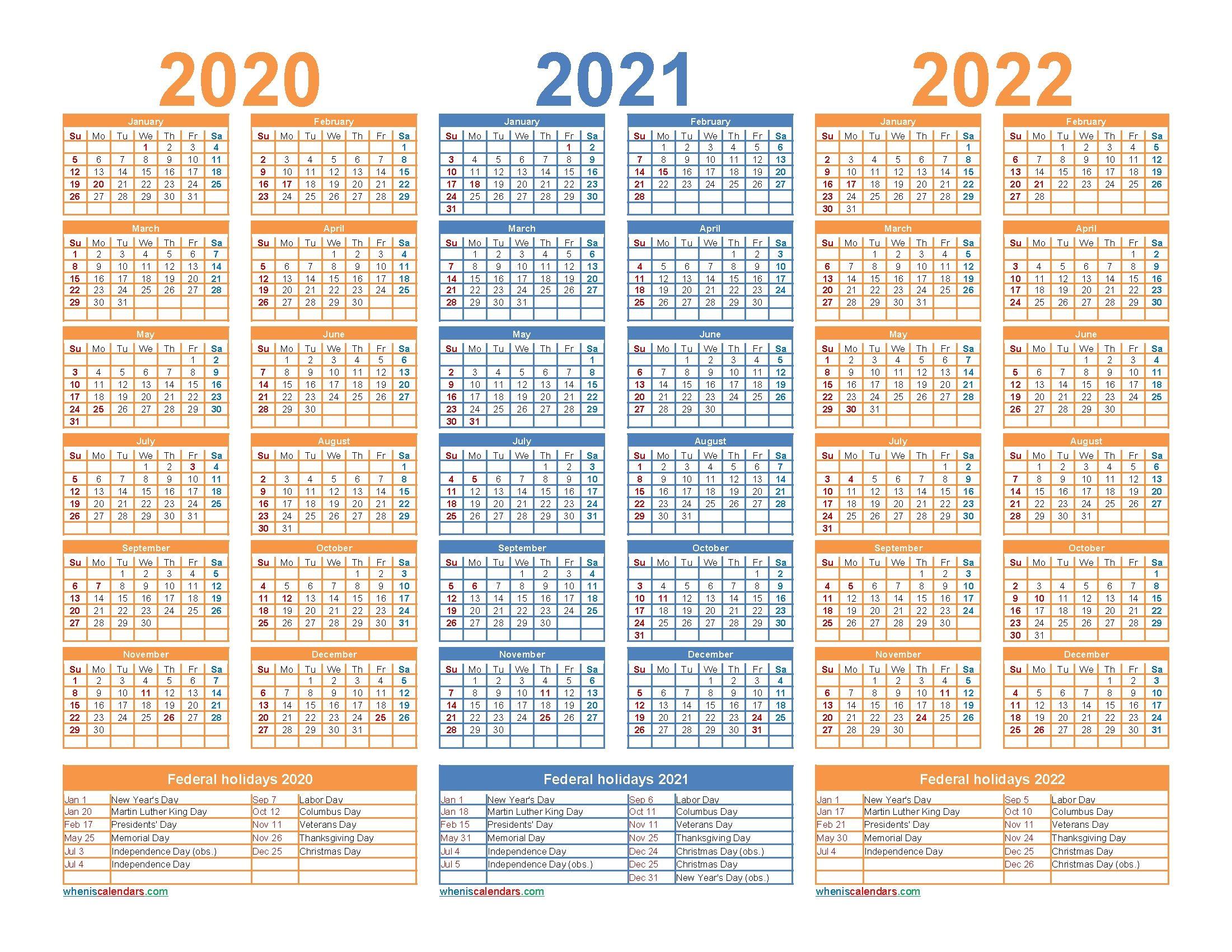 3 Year Calendar 2021 To 2023