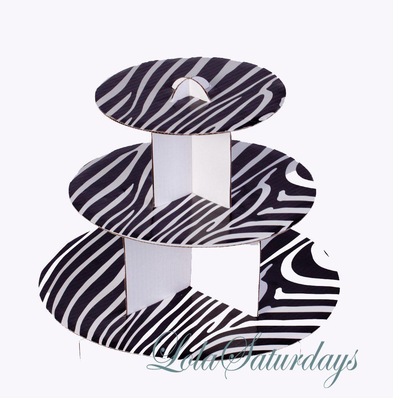 AmazonSmile: LolaSaturdays 3 Tier Cupcake Stand - Party decoration - Black Zebra: Kitchen & Dining