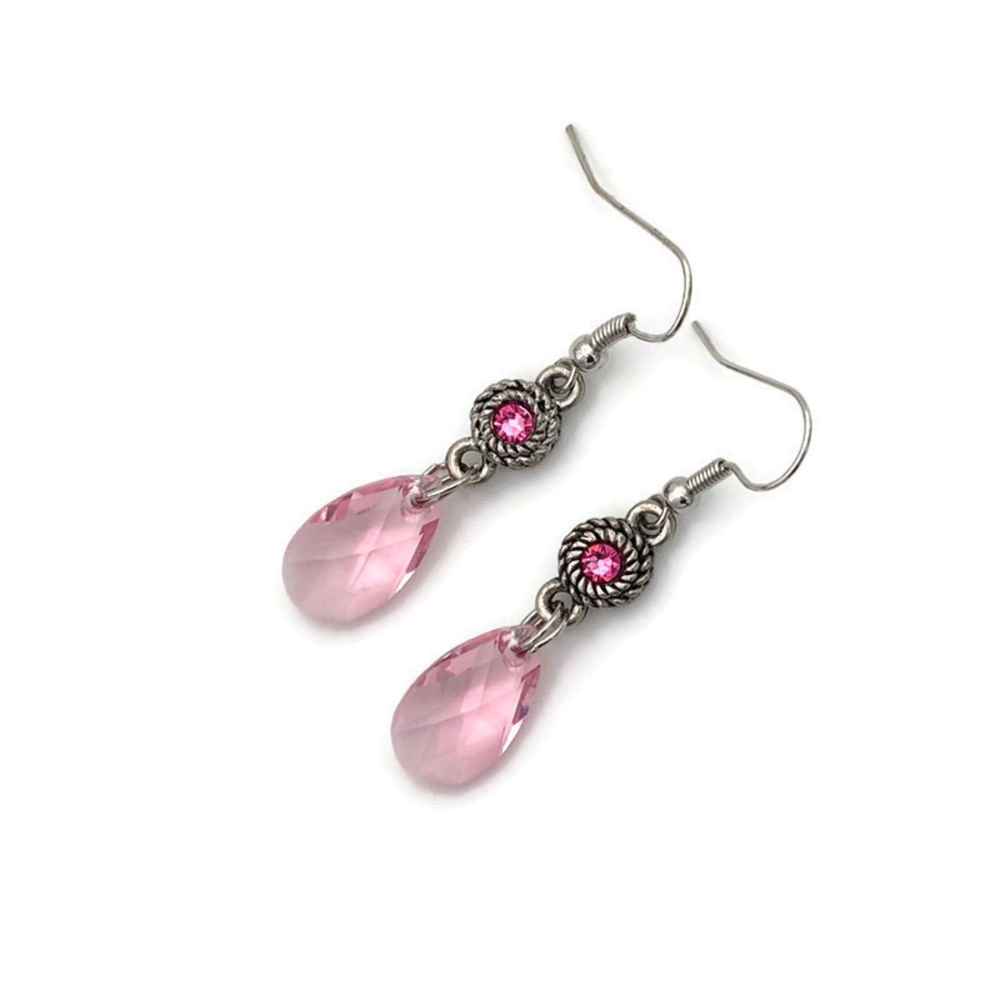 Pink Crystal Teardrop Earrings Mothers Day Gifts Drop Earrings