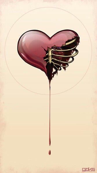 Coração A Sangrar Creepy Arte Ilustraciones Arte Oscuro