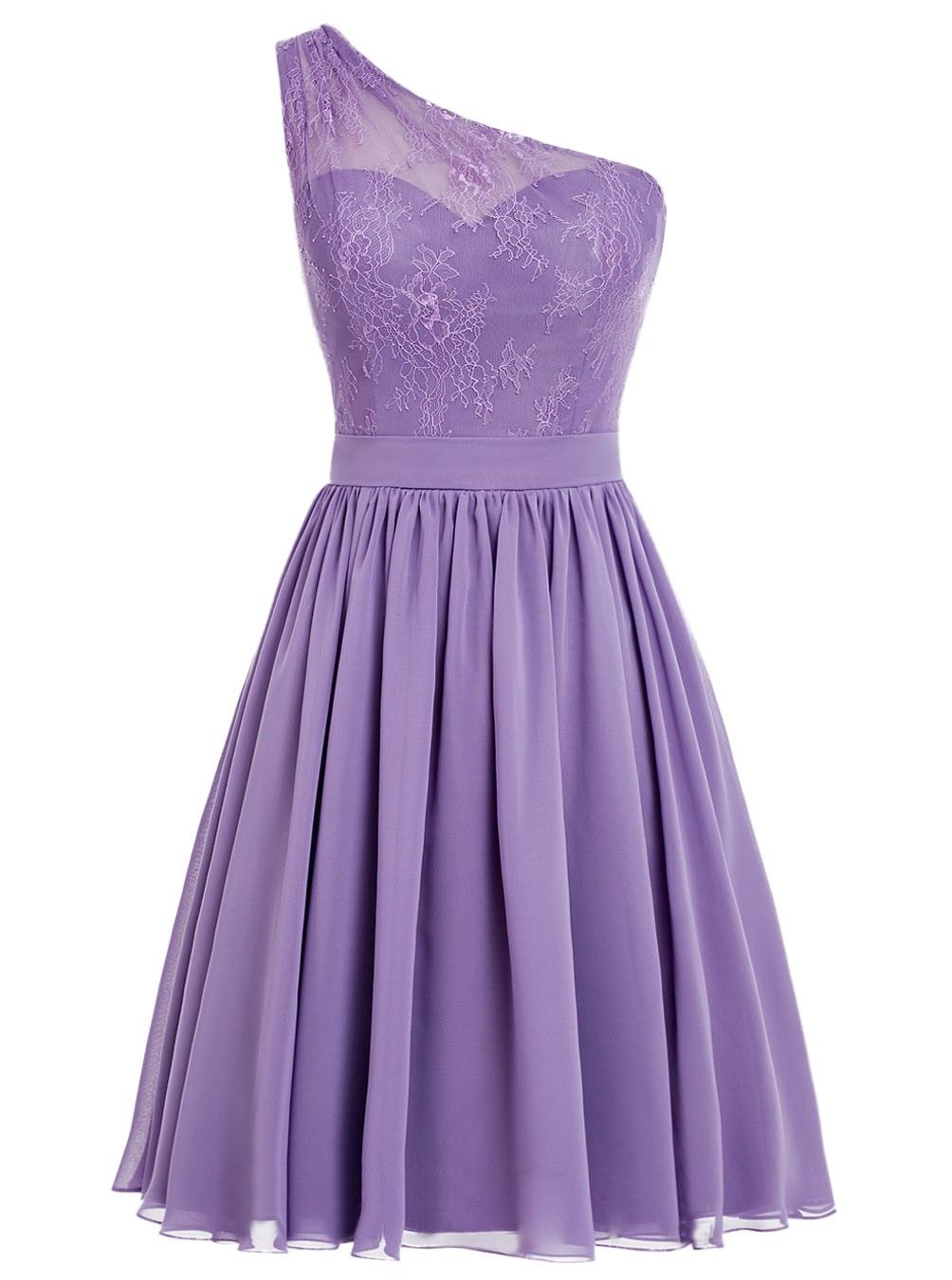 Sexy One-shoulder Chiffon Short Purple Prom/Homecoming Dress With ...