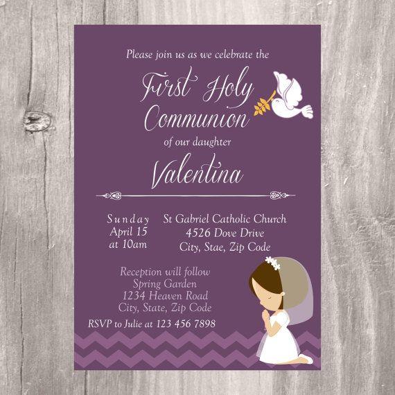 Lavender Holy Communion Invite Printable Floral Watercolor Invite