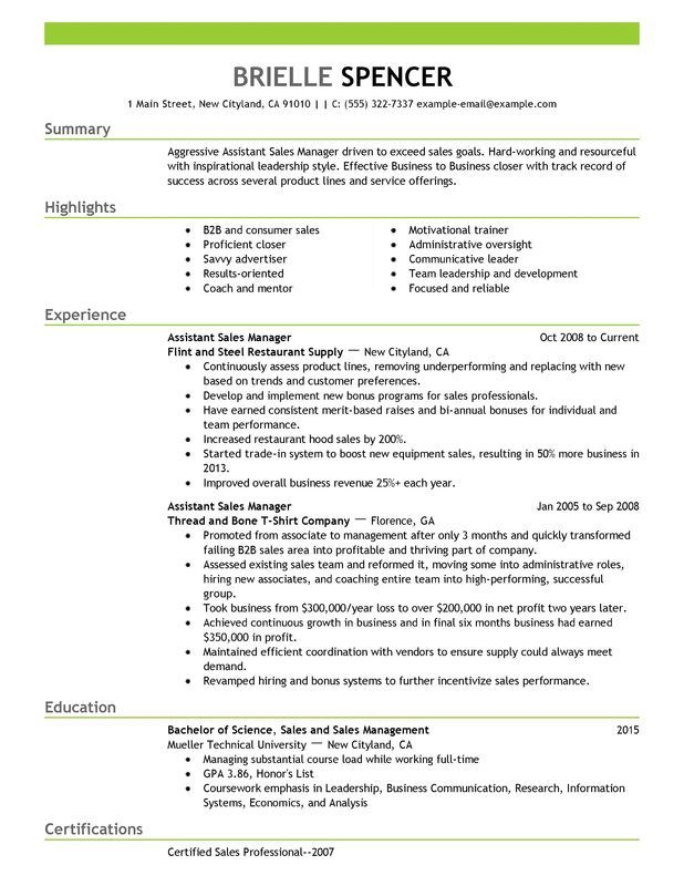 Assistant Managers Resume Examples Created By Pros For Sample Resume For Assistant Manager In Retail Resume Examples Manager Resume Sales Resume Examples