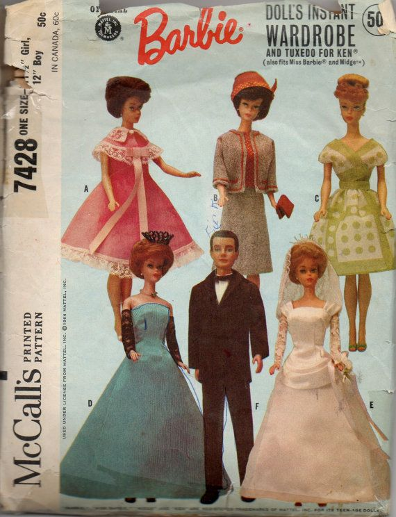 McCalls 7428 1960s Fashion Doll Clothes Pattern Ken and Barbie 11 1 ...