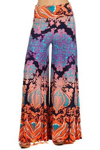 Foldover Waist Ombre Print Palazzo Long Gaucho Pants with Wide ...