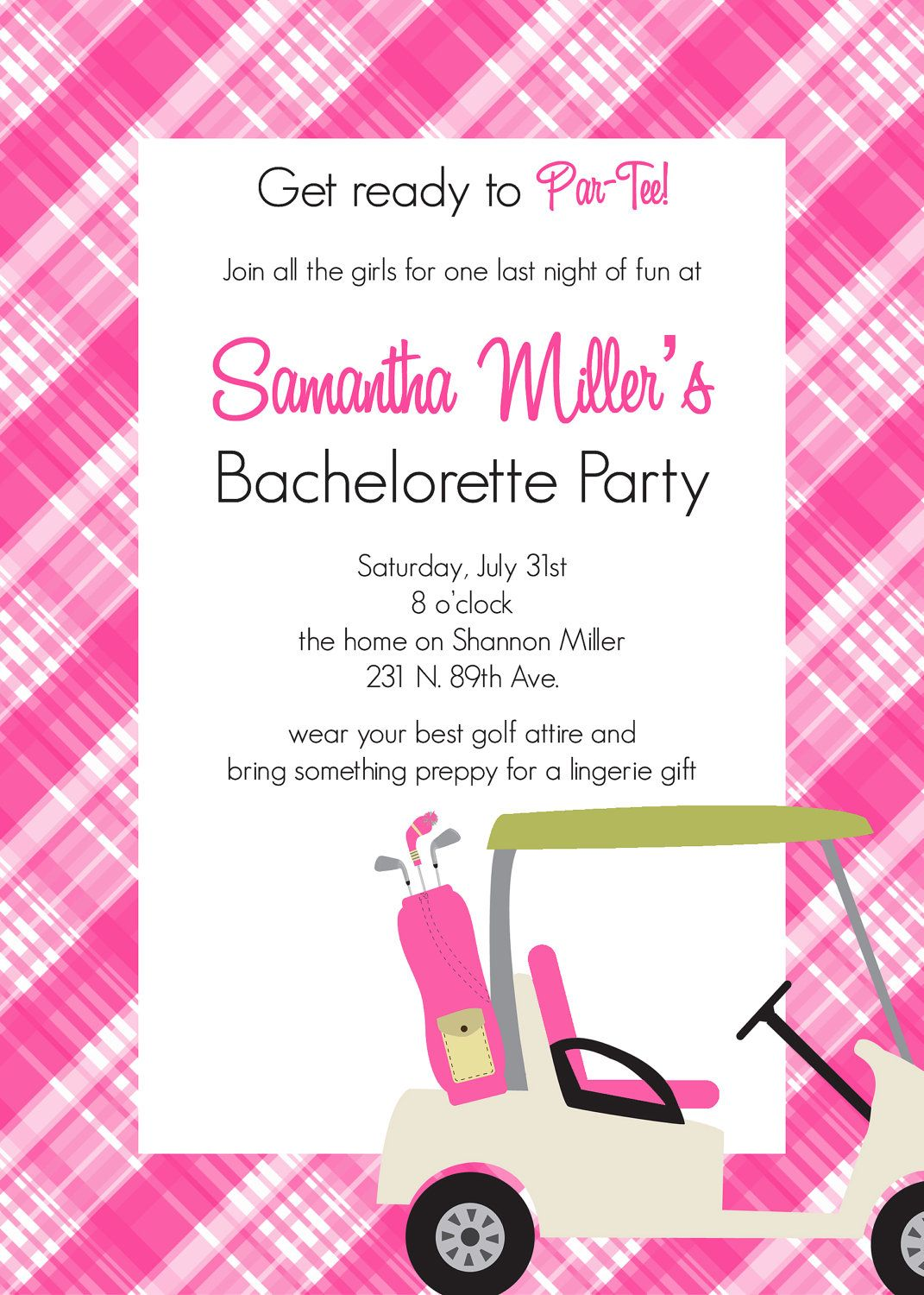 Golf Themed Bachelorette Party Invitation - PRINTABLE INVITATION ...