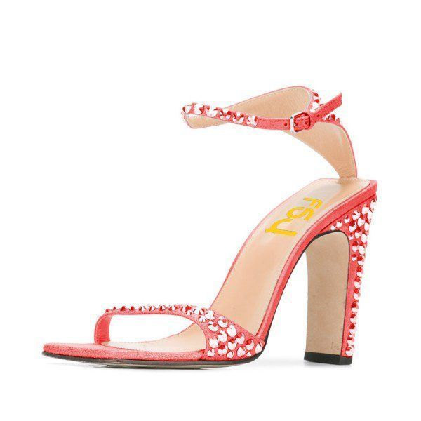 Red Prom Shoes Ankle Strap Rhinestone Chunky Heels Sandals For Big Day Spring Dresses Shoes Paris Fashion Week Outfits Summer Style Bucket List Ideas Chic Fashion Prom Dresses Shoes Spring Dresses Shoes Long Sleeve Wedding Dress Heels Cute Outfits For Girls, Anniversary, Honeymoon | FSJ