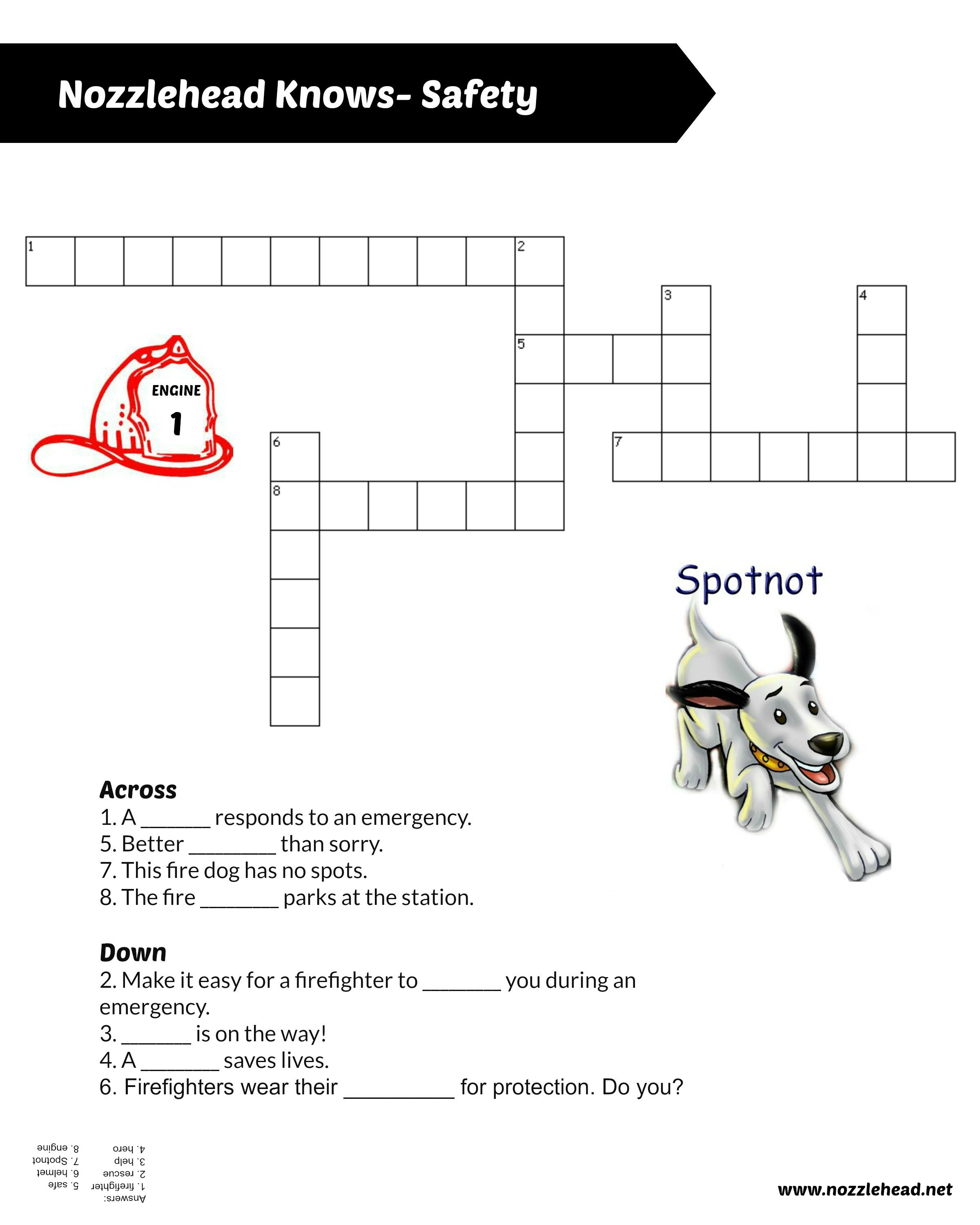Nozzlehead Knows Safety Firefighter Crossword Puzzle For