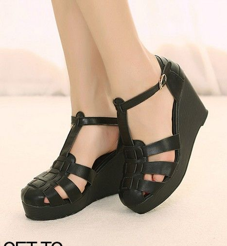 Fashion Style Wedge Thick Heel Sandals Shoes Black Black SD0120